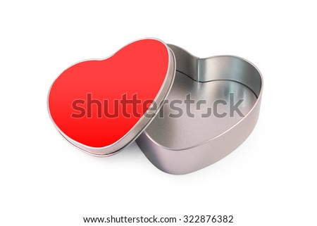 Red heart box on white background.