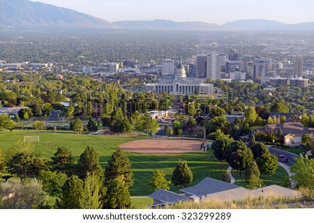Salt Lake City skyline with Capitol building, Utah #323299289