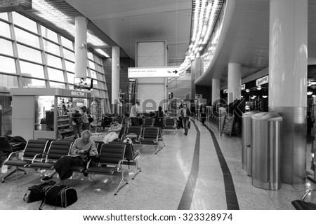MOSCOW, RUSSIA - AUGUST 19, 2015: airport terminal. Sheremetyevo International Airport is an international airport located in Khimki, Moscow Oblast, Russia, 29 km northwest of central Moscow. #323328974