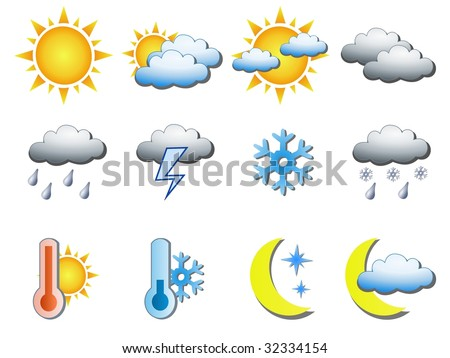 Weather icons. See vector version in my portfolio. #32334154