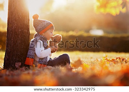 Adorable little boy with teddy bear in the park on an autumn day in the afternoon, sitting on the grass #323342975