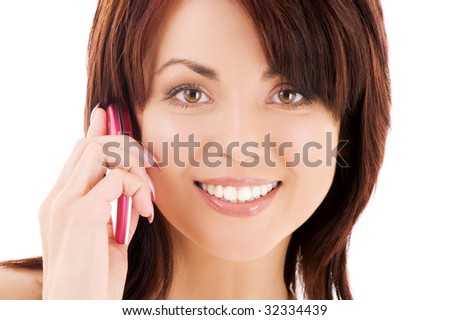 picture of happy woman with cell phone #32334439
