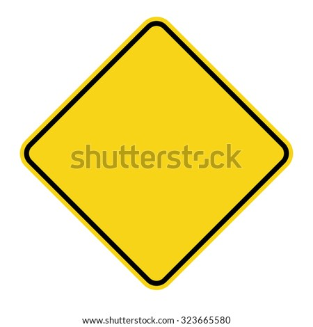 Blank Yellow Sign. Empty square warning symbol isolated on white background. Priority road icon. Traffic sign. Stock Vector Illustration #323665580