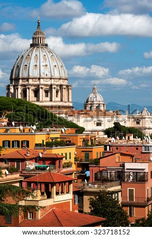 St.Peter and roofs of Rome #323718152