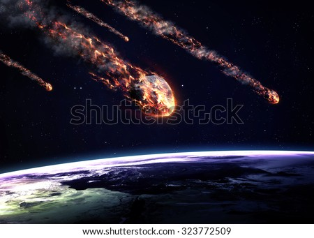 Meteor shower. Elements of this image furnished by NASA Royalty-Free Stock Photo #323772509