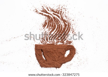 Cup of coffee. Cup of coffee made from coffee powder. #323847275