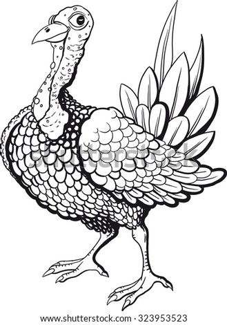 Funny turkey in black and white flowers isolated on white background