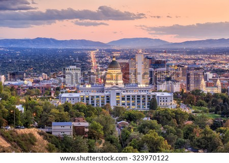 Salt Lake City skyline Utah at night Royalty-Free Stock Photo #323970122