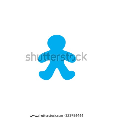 A Blue Icon Isolated on a White Background - Gingerbread Man #323986466
