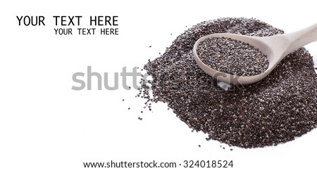 Dry chia seeds in spoon on white background #324018524