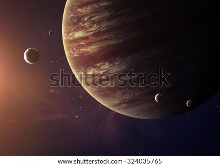 The Jupiter from space showing all they beauty. Extremely detailed image, including elements furnished by NASA. Other orientations and planets available.