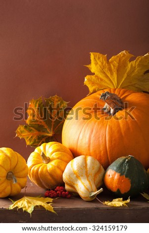 decorative pumpkins and autumn leaves for halloween #324159179