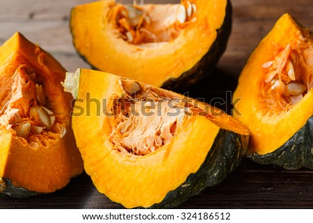 Pumpkin slices with seeds #324186512