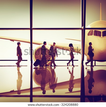 Business People Traveling Airplane Airport Concept #324208880