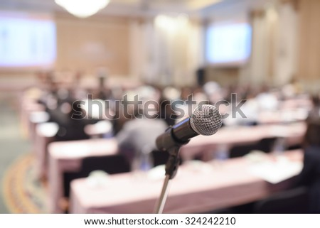 Close up of microphone in concert hall or conference room #324242210