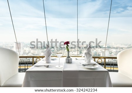 Empty glasses set in restaurant #324242234