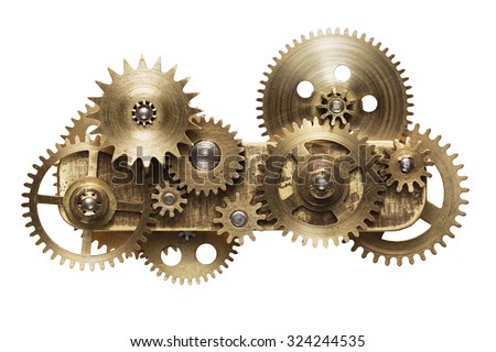Metal collage of clockwork gears isolated on white background Royalty-Free Stock Photo #324244535