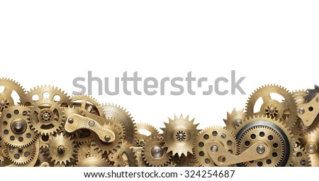 Mechanical collage made of clockwork gears on white background Royalty-Free Stock Photo #324254687
