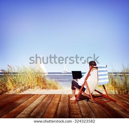 Businessman Holiday Working Business Travel Beach Concept #324323582