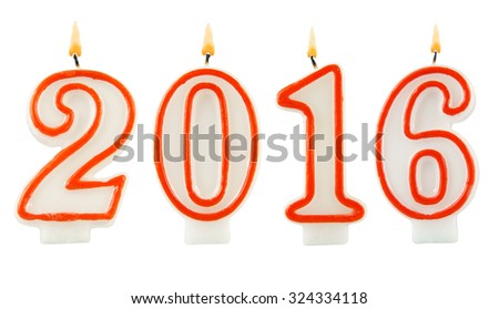 Burning candles on white background, number 2016, new year concept