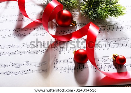 Christmas decor on music notes background