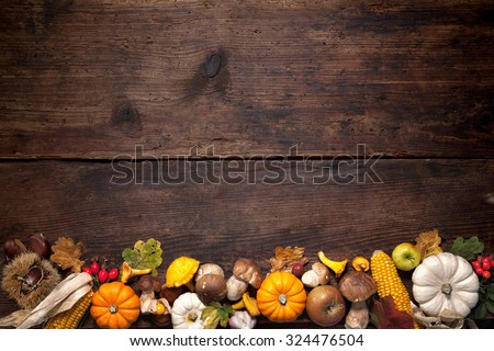 Harvest or Thanksgiving background with autumnal fruits and gourds on rustic wooden table