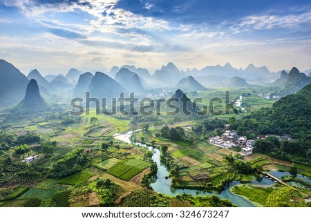 Landscape of Guilin, Li River and Karst mountains. Located near Yangshuo County, Guilin City, Guangxi Province, China. Royalty-Free Stock Photo #324673247