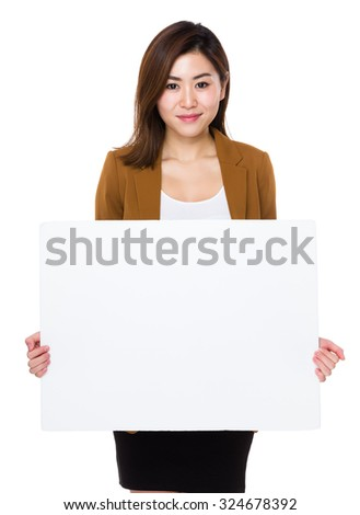 Businesswoman show with white banner #324678392