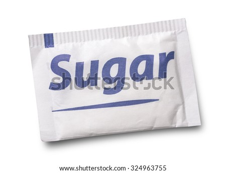 Small sugar packet isolated on white  Royalty-Free Stock Photo #324963755