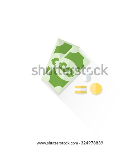 dollar bill and coins colored flat design isolated cash money illustration on white background with shadow
