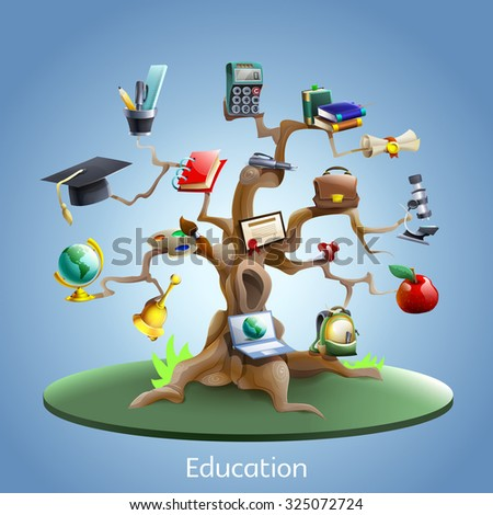 Education and study tree concept with laptop and graduation certificate on blue background cartoon  illustration