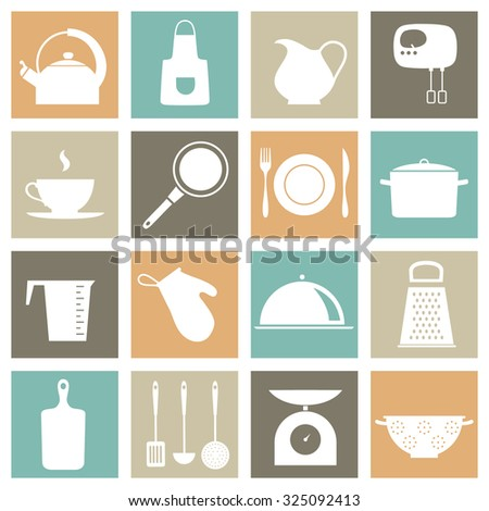 vector set with kitchen icons #325092413