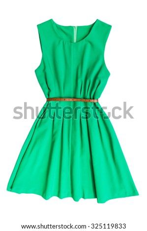 Green dress with belt on a white background Royalty-Free Stock Photo #325119833