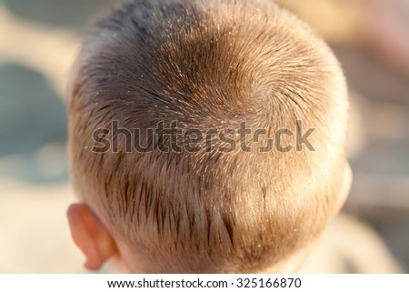 head of boy with short hairs after haircut. Sunny weather. Wet hairs.  #325166870
