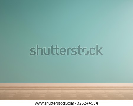 green mint wall on wood floor interior-rendering
