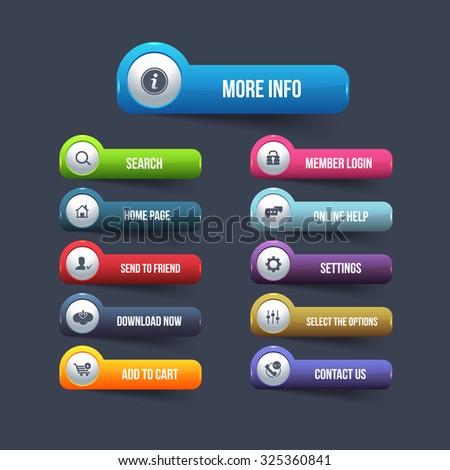 Multicolored Website Button Set #325360841