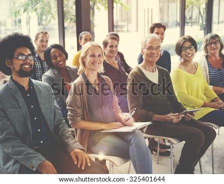 Multi-Ethnic Group of People in Seminar Concept #325401644