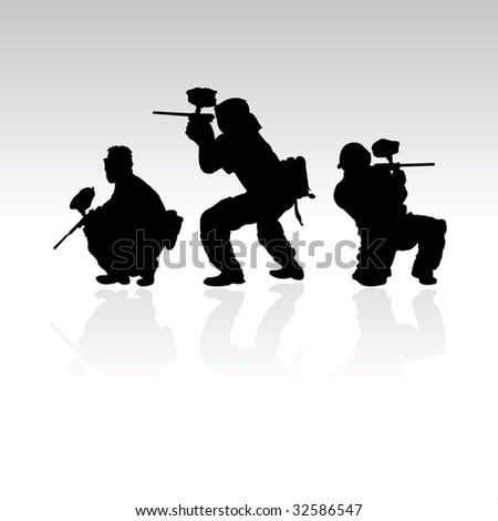 three paintball silhouettes, vector illustration #32586547