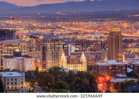Downtown Salt Lake City skyline Utah at night USA