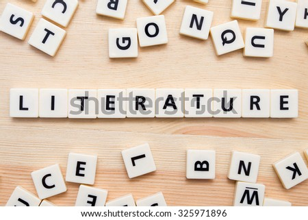 White alphabet blocks spelling the word Literature. Royalty-Free Stock Photo #325971896
