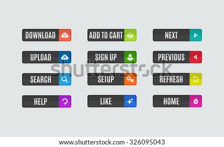 Set of modern flat design website navigation buttons. Rectangle shape. Help like search download upload setup sign up add to cart next previous refresh home icons #326095043