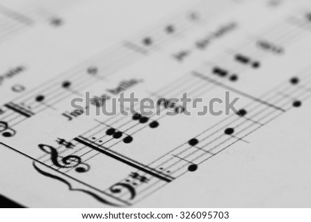 Sheet music with a number of accessories