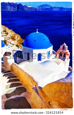 blue Santorini - artistic picture in painting style