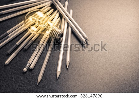 Light bulb with many pencils #326147690