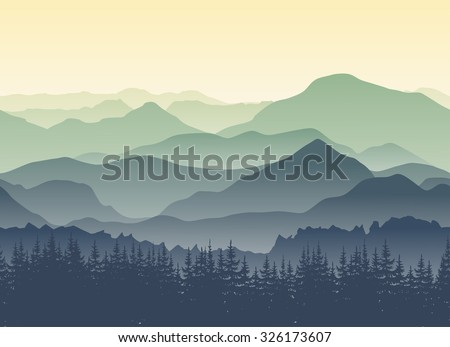 Green mountains in the fog. Seamless background.