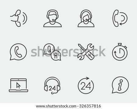 Support service vector icon set, thin line design #326357816