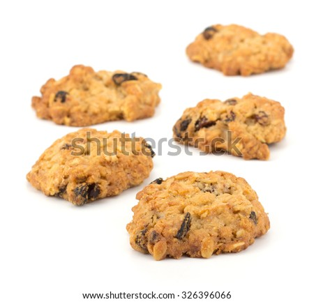 Fresh home made cookies with rasins isolated on white background #326396066