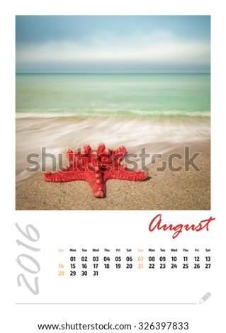 Photo calendar with beautiful minimalist landscape 2016. August