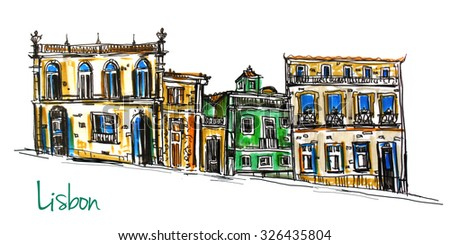 Hand drawn illustration of a fantasy town street with row of colorful houses