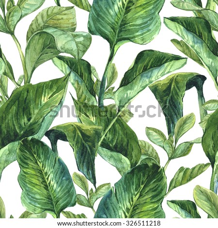 Watercolor Seamless Exotic Background with Tropical Leaves, Botanical illustration #326511218